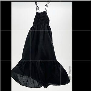 ZARA TEXTURED DRESS TIE STRAP MIDI BLACK 7200/118